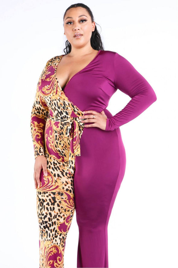 Leopard Paisley Printed Color Blocked Jumpsuit - Babe Shoppe