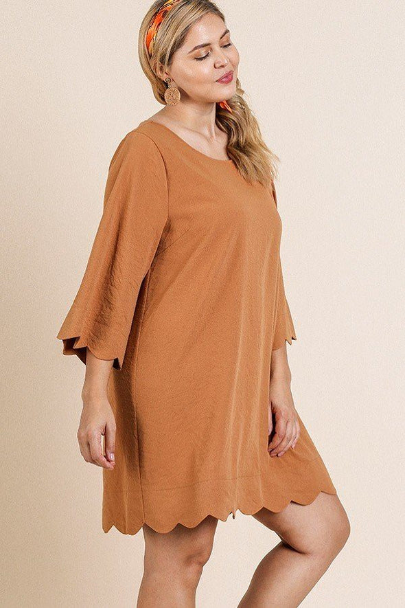 3/4 Sleeve Round Neck Dress - Babe Shoppe