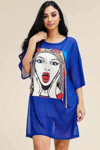 Short Sleeve Mesh Tunic Dress With Patch On The Front - Babe Shoppe