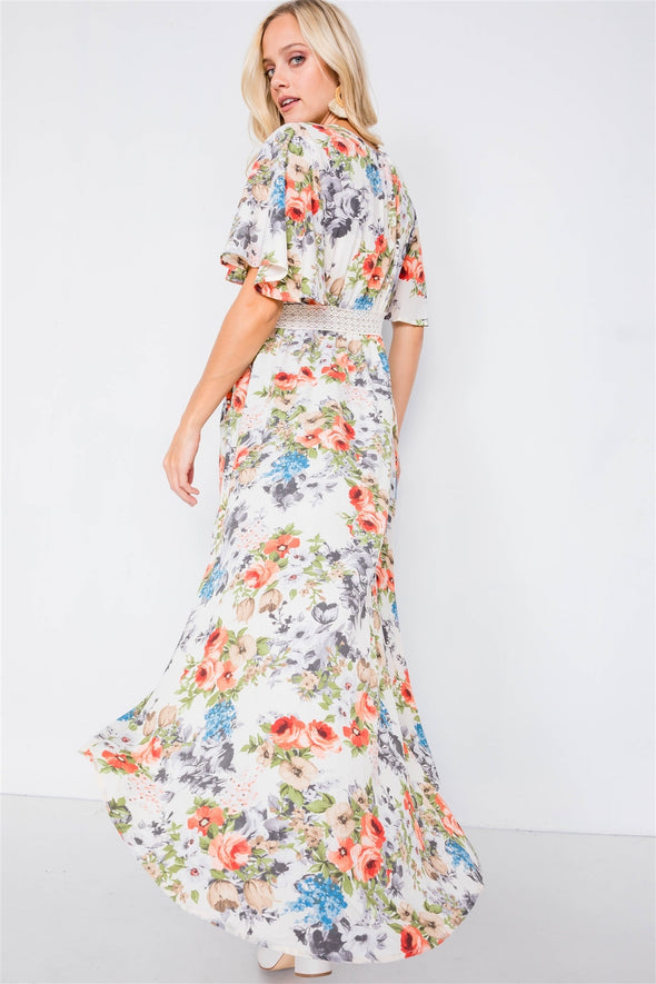Ivory Rose & Blue Floral Print High-low Kimono Cover-up - Babe Shoppe