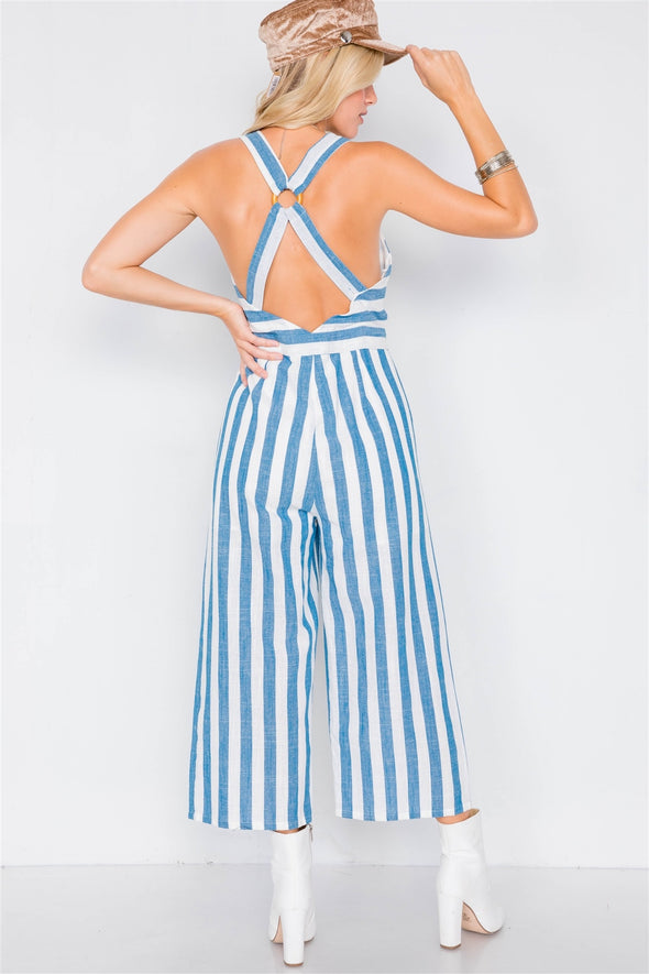 Blue Linen Stripe Button Down Wood Ring Jumpsuit - Babe Shoppe