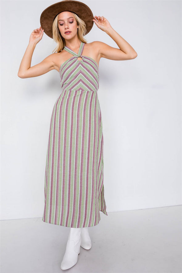 Green Multi Stripe Wooden Center Cut Out Halter Maxi Dress - Babe Shoppe