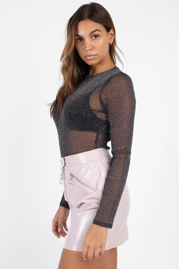 Sheer Mesh Metallic Top - Babe Shoppe