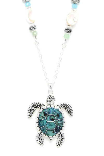Turtle Pendant Beaded Necklace - Babe Shoppe