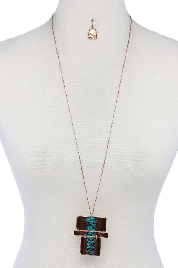 Rectangular Shape Pendant Necklace - Babe Shoppe