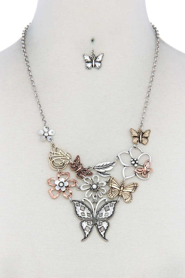 Metal Butterfly Necklace - Babe Shoppe