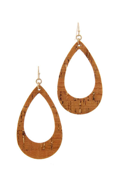 Cut Out Cork Teardrop Shape Drop Earring - Babe Shoppe