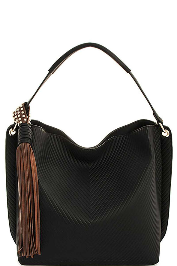 Trendy Chic Tassel Satchel With Long Strap - Babe Shoppe