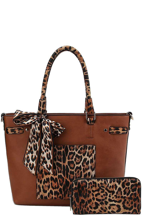 2in1 Leopard Two Tone Scarf Tote Bag With Matching Wallet - Babe Shoppe