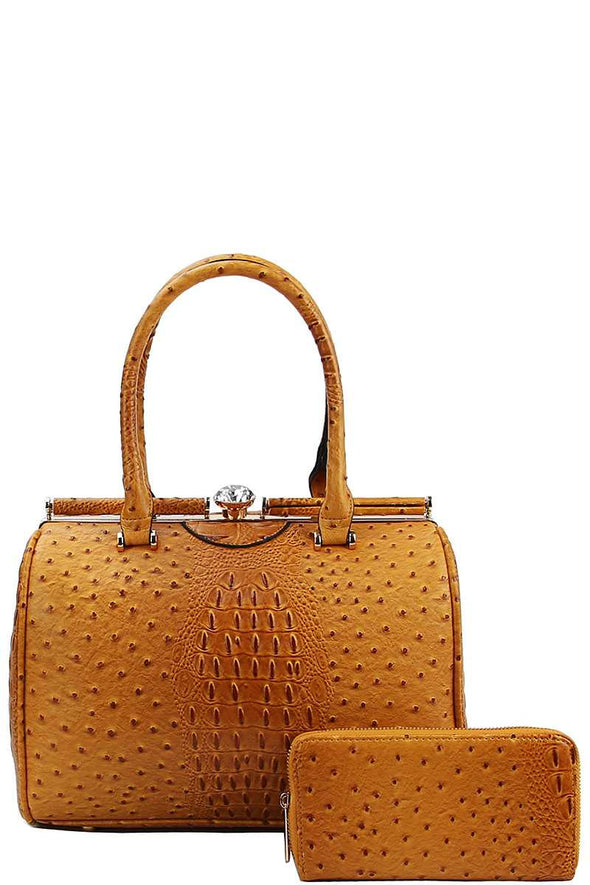 Stylish Croco Pattern Structured Doctor Bag With Matching Wallet - Babe Shoppe