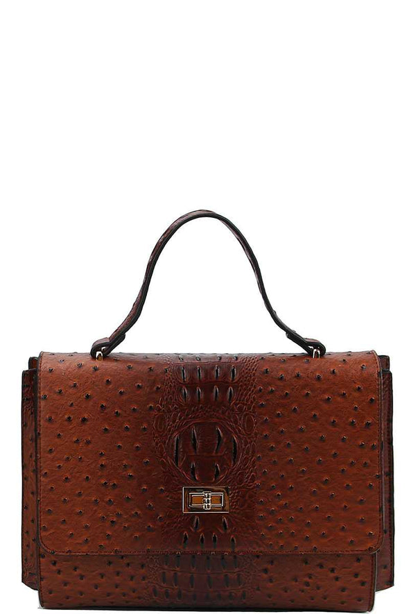 Modern Fashion Croco Pattern Satchel With Long Strap - Babe Shoppe