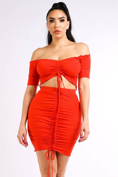 Ribbed Off Shoulder Top & Skirt Set - Babe Shoppe