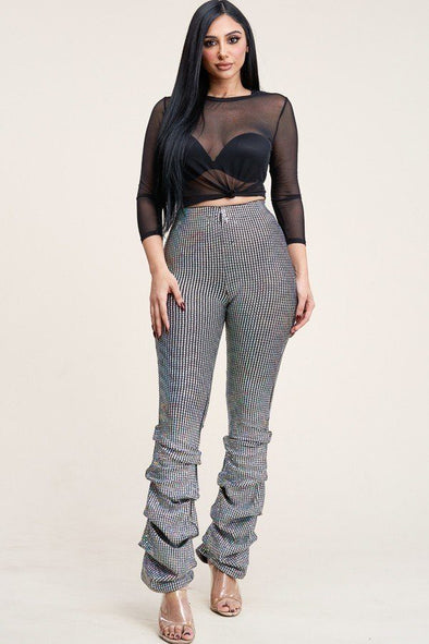 3/4 Sleeve Power Mesh Top And Holographic Stacked Pants - Babe Shoppe