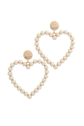 Pearl Heart Shape Post Drop Earring - Babe Shoppe