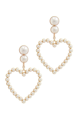 Heart Shape Post Drop Earring - Babe Shoppe