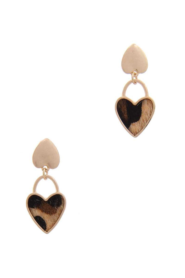 Faux Fur Double Heart Post Drop Earring - Babe Shoppe