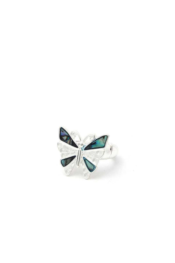 Abalone Butterfly Stretch Ring - Babe Shoppe