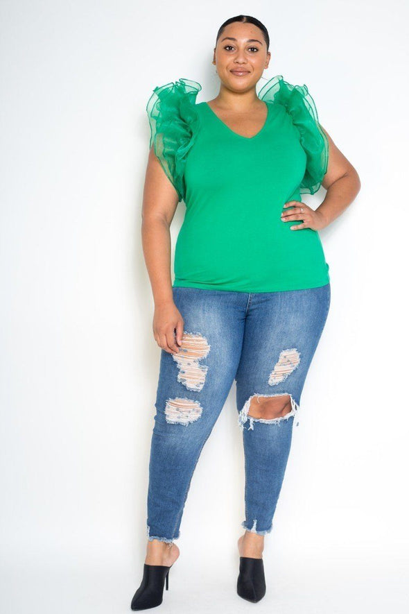 Plus Size Mesh Ruffle Shoulder Top - Babe Shoppe