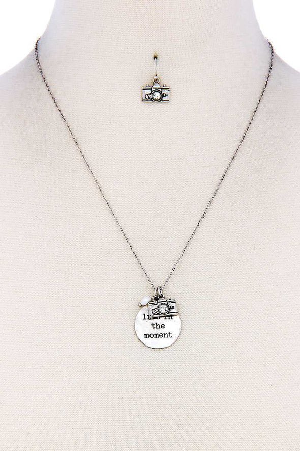Live In The Moment Pendant Necklace And Earring Set - Babe Shoppe