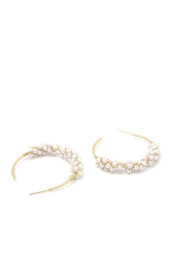 Beaded Open Circle Earring - Babe Shoppe