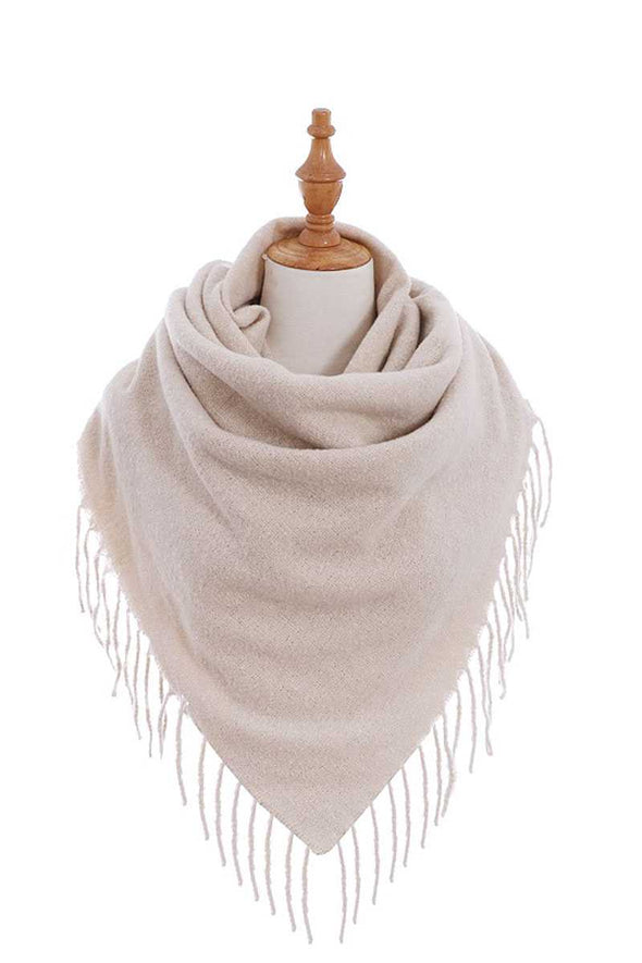 Stylish Solid Color Square Scarf With Fringe - Babe Shoppe