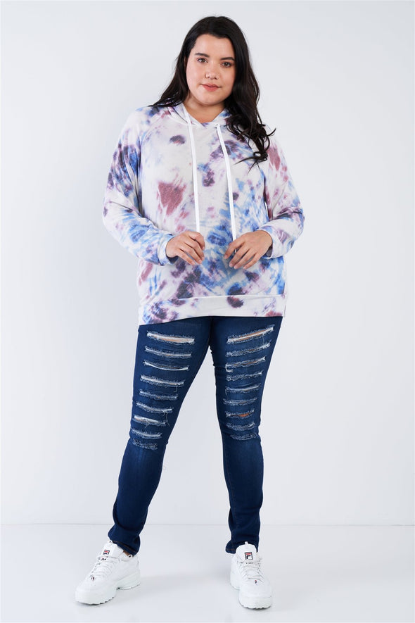 Plus Size Purple Multi Tie Dye Relaxed Fit Hoodie Sweater - Babe Shoppe