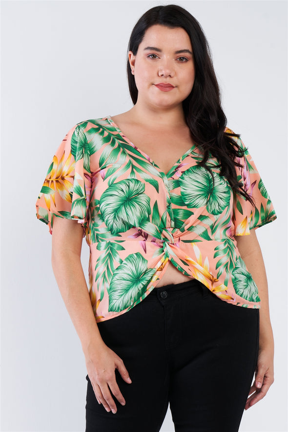 Plus Size Multi Tropical Floral Front Roll Butterfly Sleeve Top - Babe Shoppe