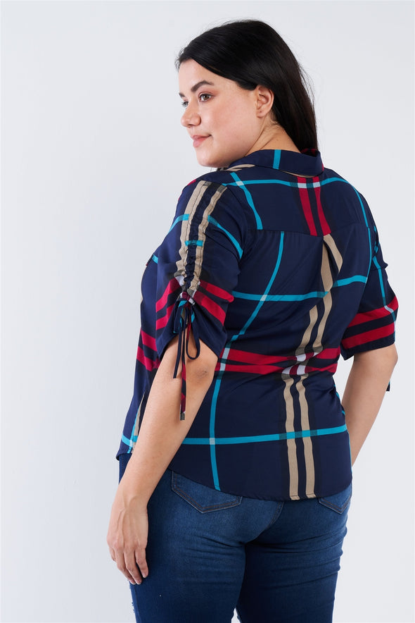 Plus Size Plaid Multi Stripe Cinched Sleeve Button Down Top - Babe Shoppe