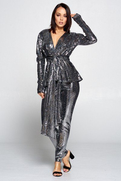 Sequin Deep V Neckline Long Sleeve Top Paired With Sequin Elastic Waist Pants - Babe Shoppe