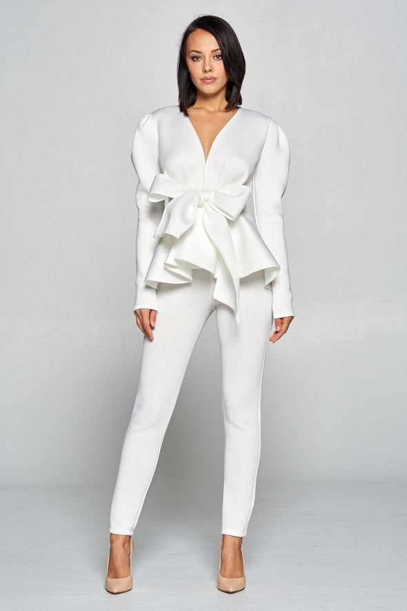 Long Sleeve Deep V Neckline Top With Waist Tie To Make A Bow Detail Paired With Elastic Waist Pants - Babe Shoppe
