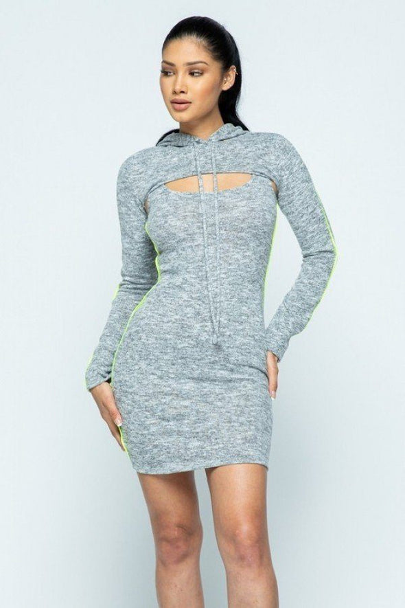 Brushed Hacci Side Piping Detail Hoodie And Tank Top Dress Set - Babe Shoppe