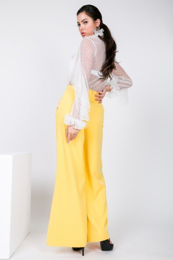 Side Slit Detail Wide Leg Pants - Babe Shoppe