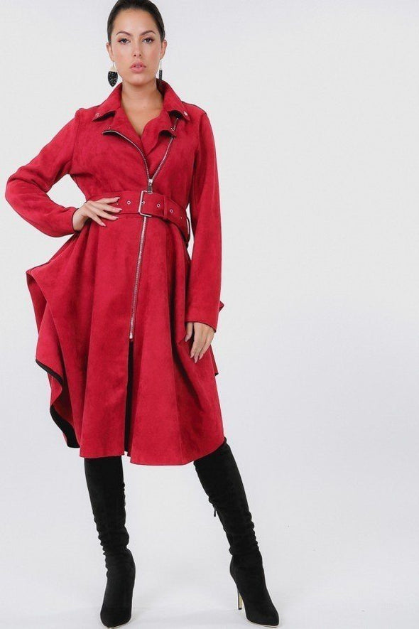 Waist Belt Tacked Faux Suede Coat - Babe Shoppe