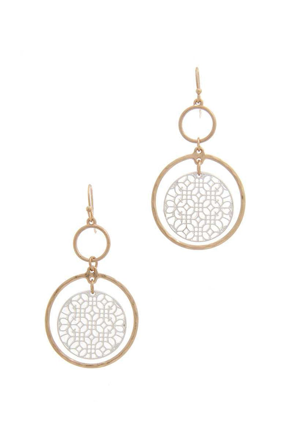 Double Circle Drop Earring - Babe Shoppe