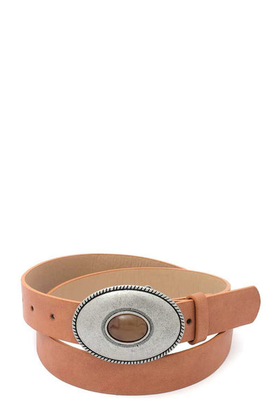 Oval Shape Metal Buckle Pu Leather Belt - Babe Shoppe