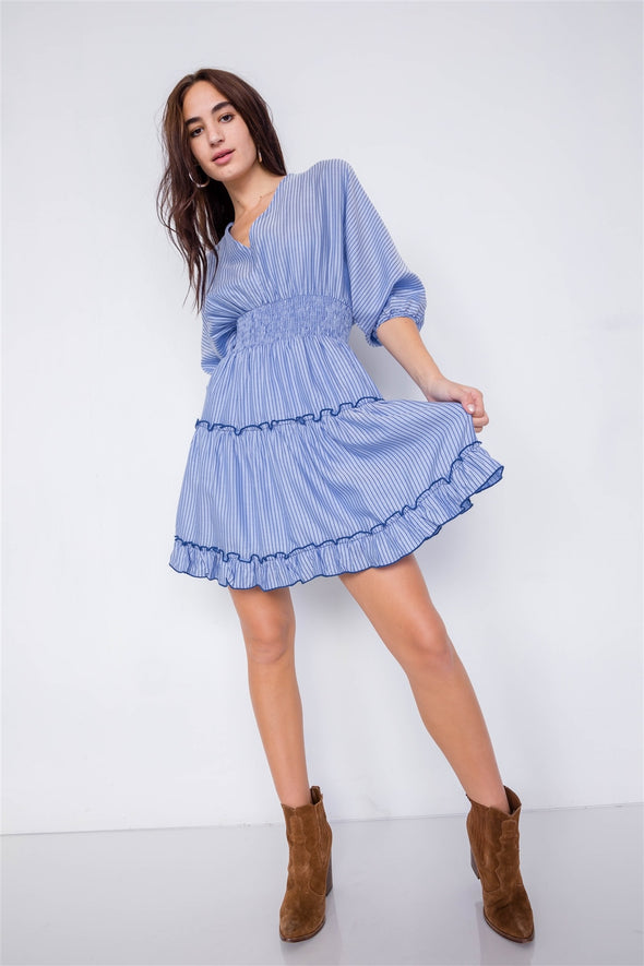 Contrast Stripes Frill Trim Modern Tencel Mini Dress - Babe Shoppe