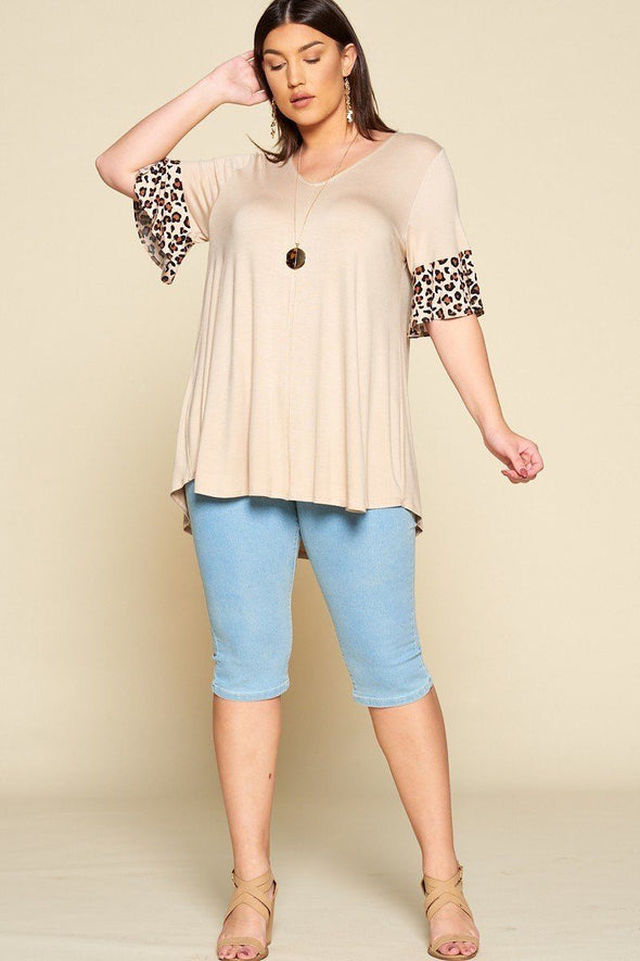 Plus Size Solid Jersey Swing Tunic Top - Babe Shoppe