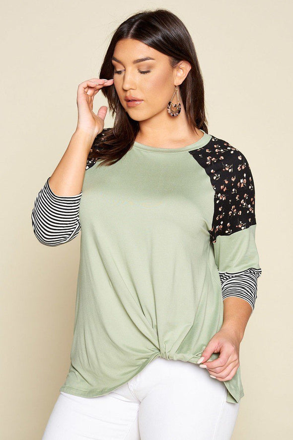 Plus Size Floral And Striped Color Block Sleeves Tunic Top With Side Twist - Babe Shoppe