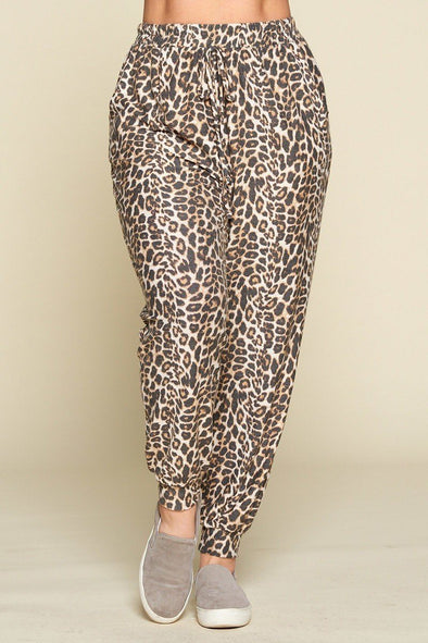 Plus Size Cute Animal Printed French Terry Jogger Pants - Babe Shoppe