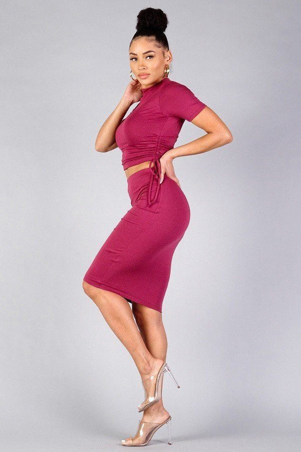 High Neck Short Sleeve Ruched Tee & High-waisted Midi Skirt Set - Babe Shoppe