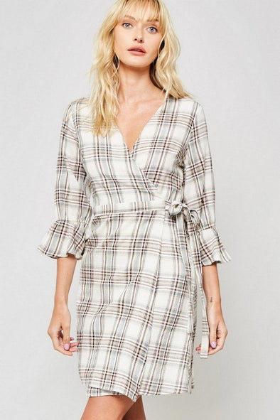 A Plaid Woven Dress - Babe Shoppe