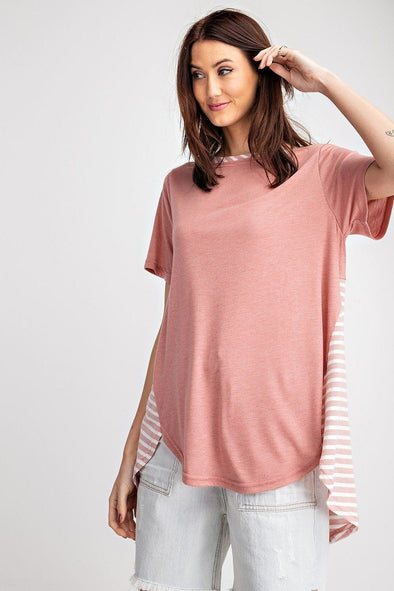 Short Sleeves Rayon Slub Mix And Match Striped Contrast Boxy Top - Babe Shoppe