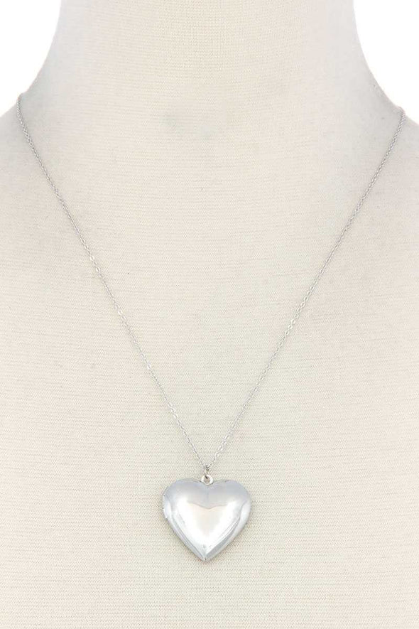 Puffy Metal Heart Locket Necklace - Babe Shoppe