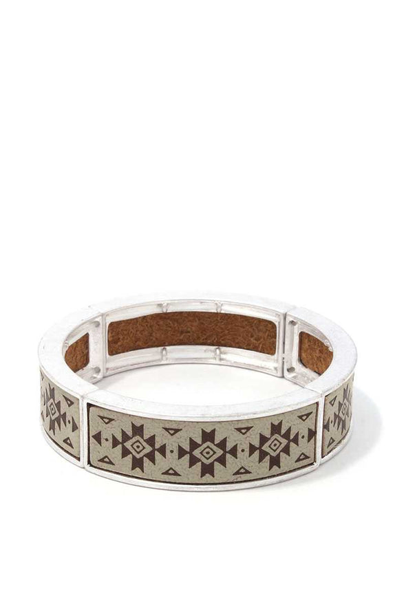 Aztec Pattern Metal Stretch Bracelet - Babe Shoppe