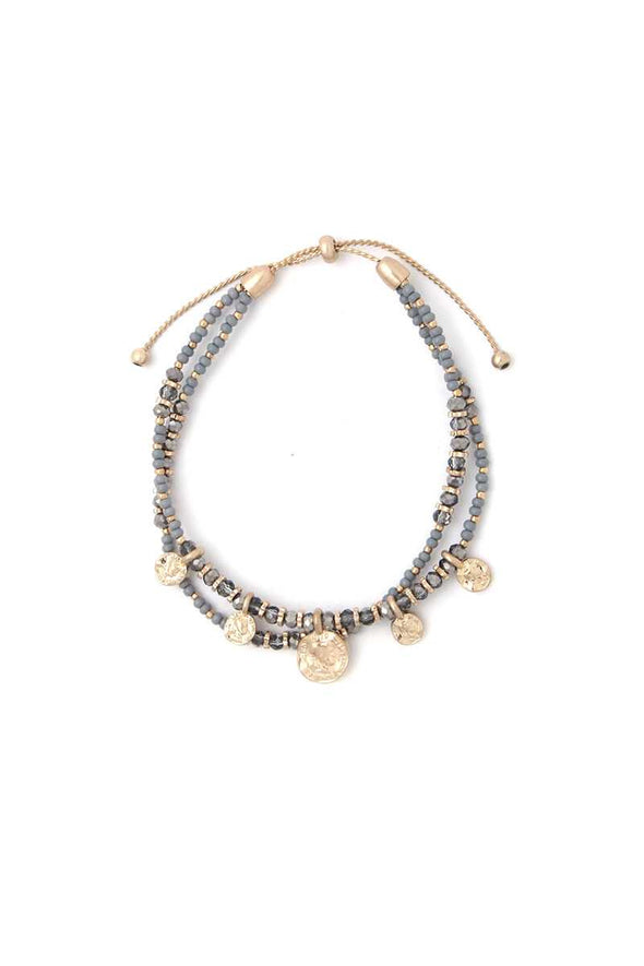 Coin Charm Beaded Adjustable Bracelet - Babe Shoppe