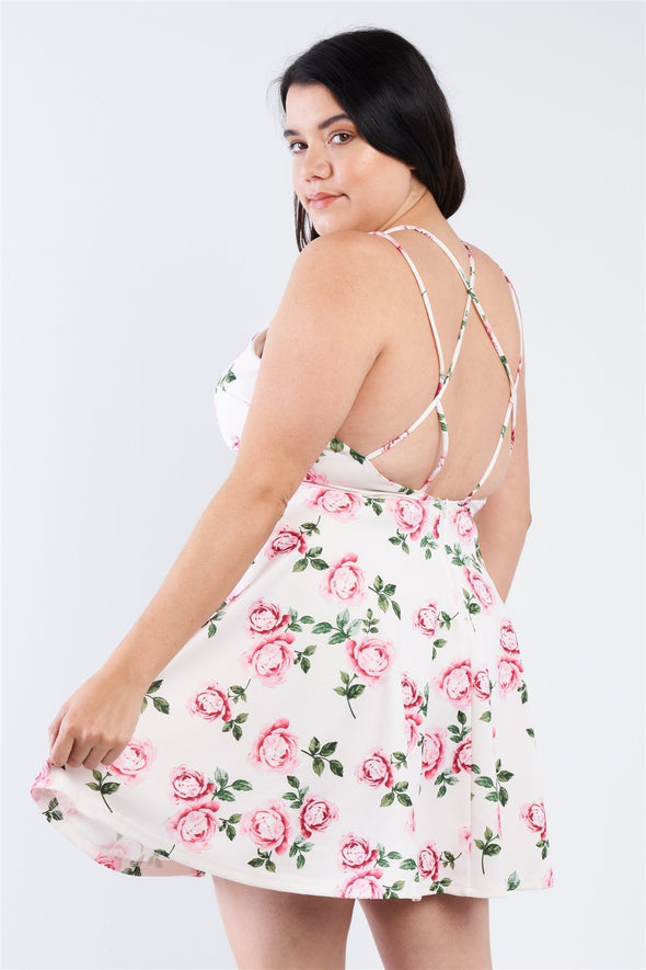 Plus Size Off White V-neck Floral Criss Cross Open Back Mini Dress - Babe Shoppe
