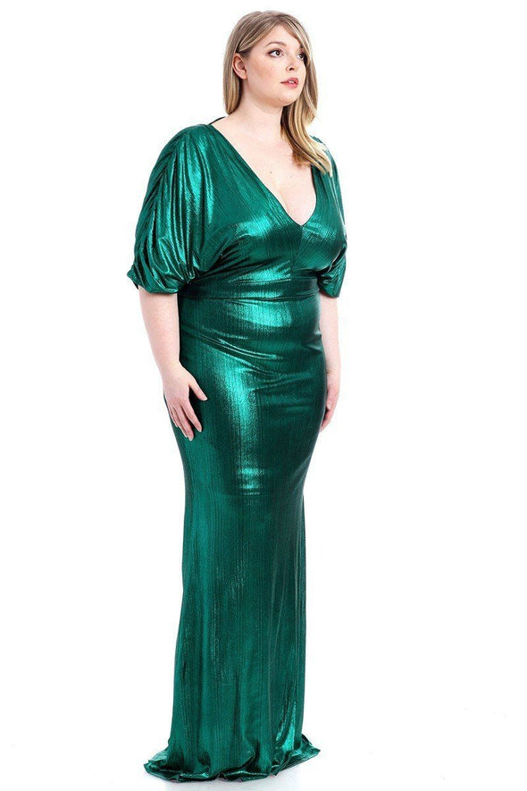 Metallic Ribbed Deep V-neckline Dress - Babe Shoppe