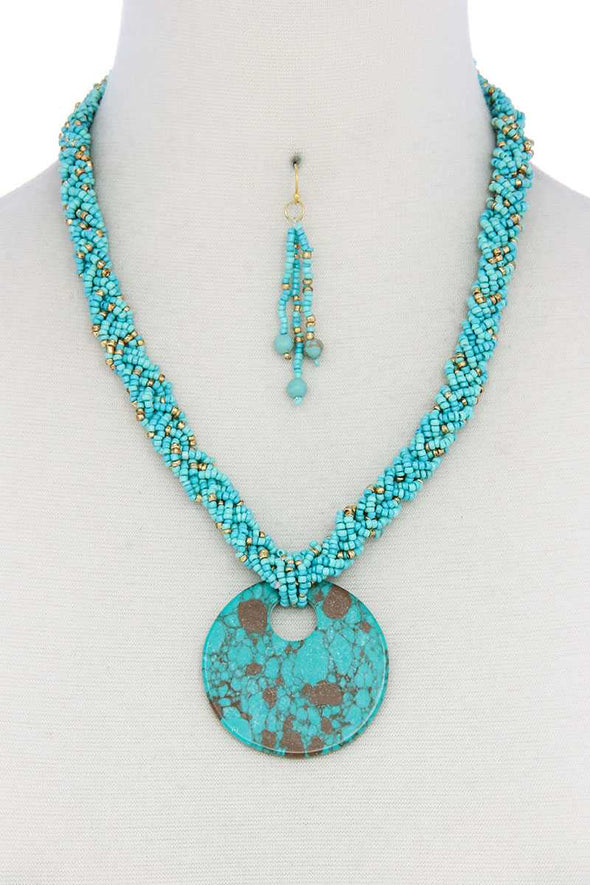Faux Stone Pendant Seed Bead Necklace - Babe Shoppe