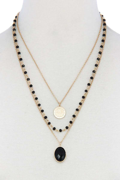 Oval Beaded Layered Necklace - Babe Shoppe