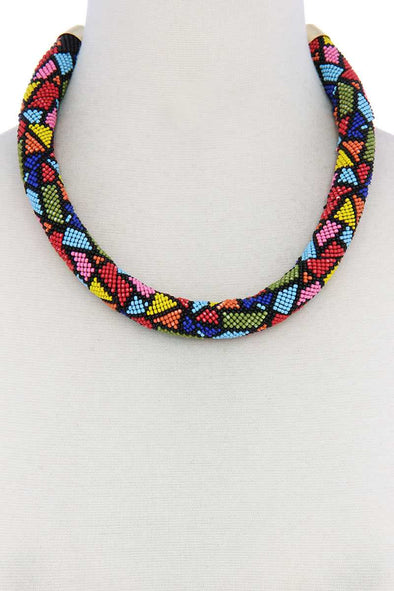 Abstract Pattern Seed Bead Necklace - Babe Shoppe